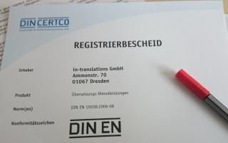 Übersetzen nach Norm DIN-EN 15038