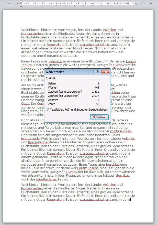 Wie viele Worte enthält eine Seite in der Schriftart Verdana?