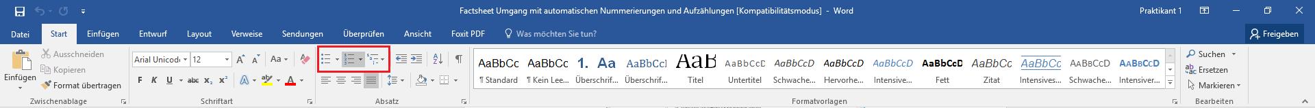 Nummerierungen automatisieren