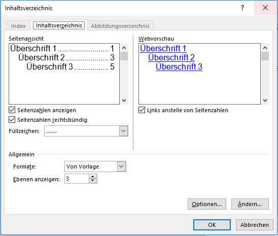 Inhaltsverzeichnisse automatisch erstellen