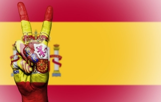spanische Flagge weht auch für die Katalanisch Sprechenden