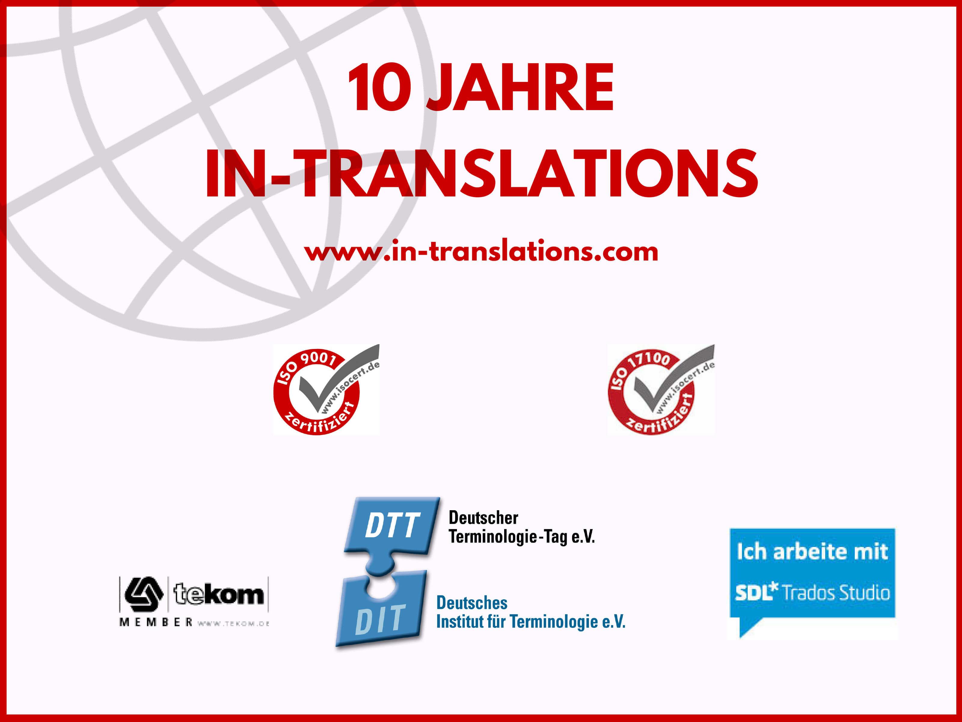 Firmenjubiläum bei IN-TRANSLATIONS